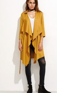 Mustard Yellow Waterfall Collar Cardigan Large